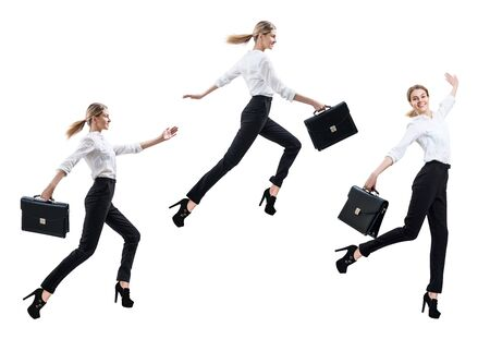 Collage of happy business woman in formal wear jumping with briefcase. Imagens