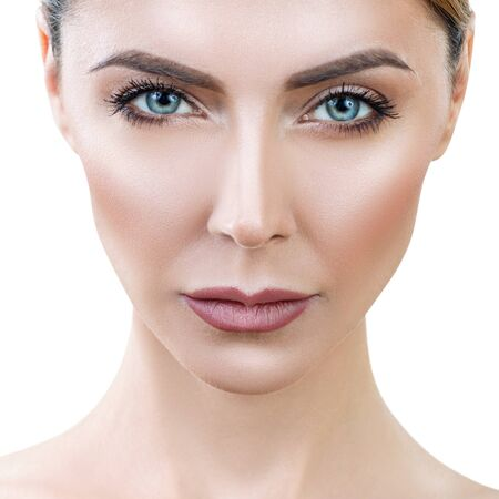 Beautiful adult woman with perfect skin lookin frowning. Stock fotó