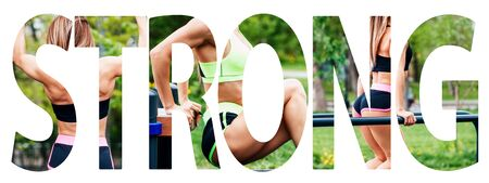 Creative collage of muscular athletic woman with the big word STRONG. Imagens
