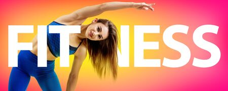 Creative collage of muscular athletic woman with the big word FITNESS.