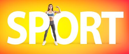 Creative collage of muscular athletic woman with the big word SPORT.