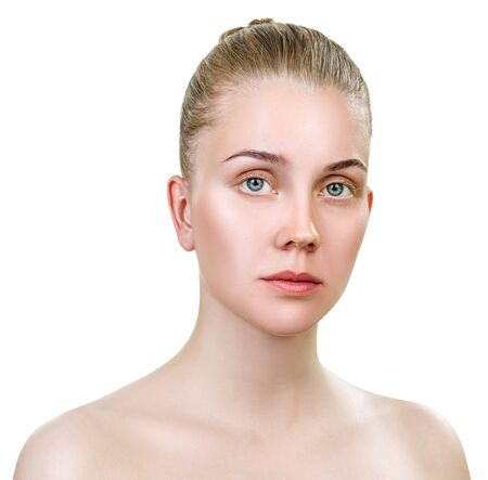 Young sensual woman without make-up and clean healthy skin.