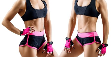 Collage of woman in sportswear demonstrated her muscular athletic body. Imagens