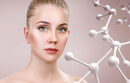 Beautiful woman near big white molecule chain