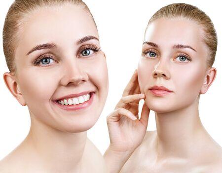 Collage der schönen Frau mit perfekter sauberer Haut.