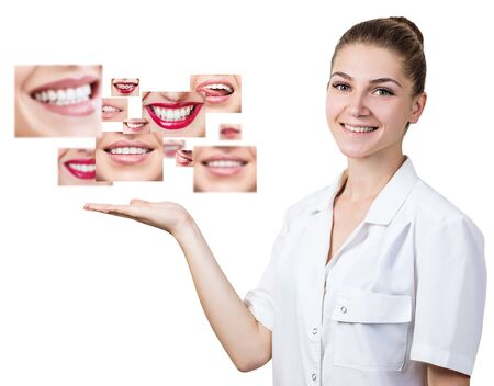 Young dentist presents collage of healthy beautiful smiles.