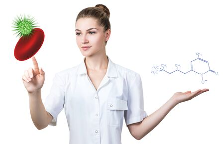 Doctor touches erythrocyte with viral cell and presents chemical formula.