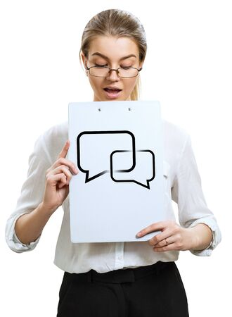 Surprised business woman looks on dialogue icons on folder.