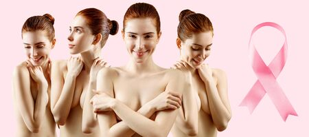 Collage of young woman holds breast in hands near big pink ribbon