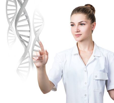 Woman science technologist touches DNA stems.