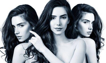 Collage de mujer sensual pelirroja con piel perfecta.