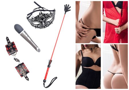 Collage of objects for bdsm sexual plays and sexual woman. Фото со стока