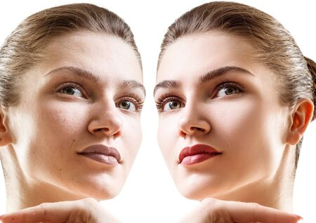 Comparison portrait of young woman with and without makeup. Reklamní fotografie
