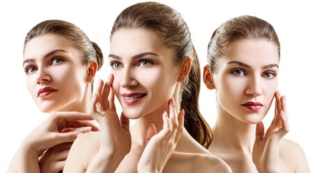 Collage of beautiful young woman with clean healthy skin. Stock Photo