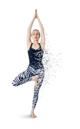 Woman in yoga posture decay on particles.