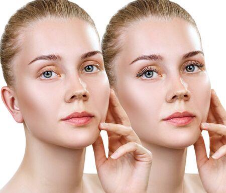 Junge Frau mit und ohne Make-up auf Wimpern. Standard-Bild