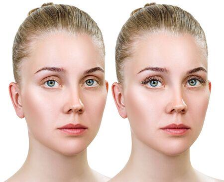 Jeune femme avec et sans maquillage sur les cils.