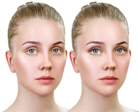 Young woman with and without makeup on eyelashes.