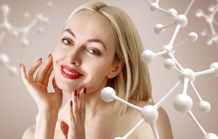 Beautiful sensual woman near big white molecule chain.