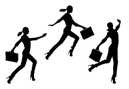 Collage of business womans silhouette jumping. Stockfoto