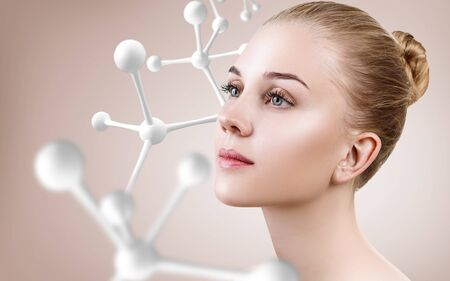 Young woman with big white molecule chain.