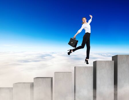 Business woman running on the concrete stairs blocks. Concept of achieving your goal.