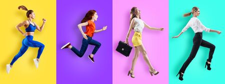 Different business people jumping on color background.