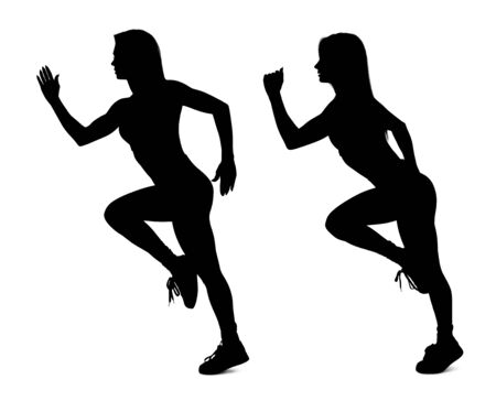 Collage of black silhouette of sporty woman running.