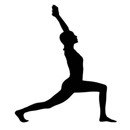 Black silhouette of woman doing yoga exercise.
