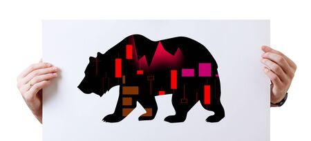 Hands of business man holds paper with black silhouette bear financial icon.