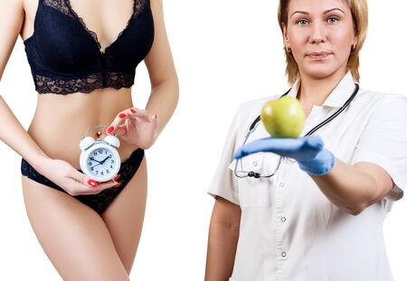 Collage of woman holds alarm clock and nutritionist with apple. Reklamní fotografie