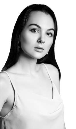 Beauty brunette woman black and white.