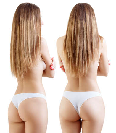 Collage of perfect female body from back view.