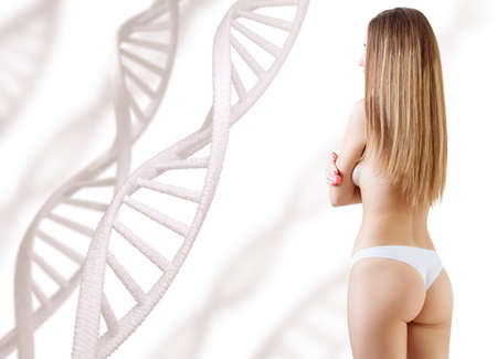 Woman with perfect body near DNA stems.
