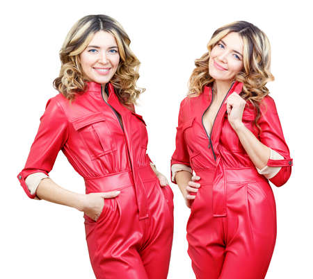 Collage of stylish woman in red leather overalls with wavy hair.