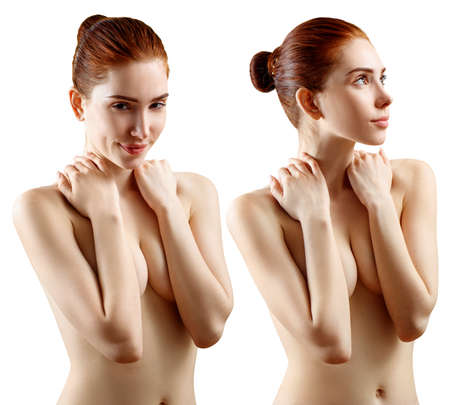 Collage of lovely naked redhead woman covering her breast.