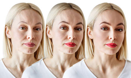 Three close-up portraits of a woman, comparison before and after Reklamní fotografie