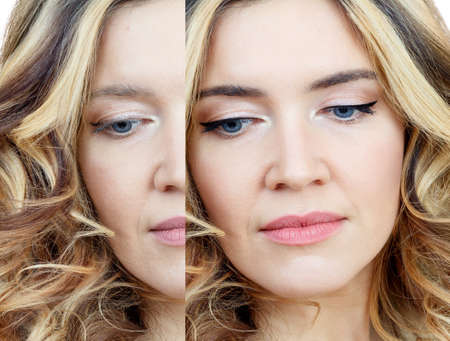 Comparison portrait of adult woman with and without makeup. Reklamní fotografie