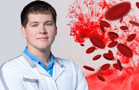 Adult men doctor near blood molecules.