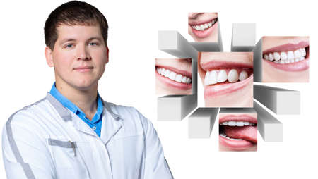 Dentist doctor presents collage of healthy beautiful smiles.