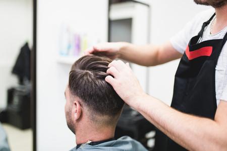 Male client at hair salon.