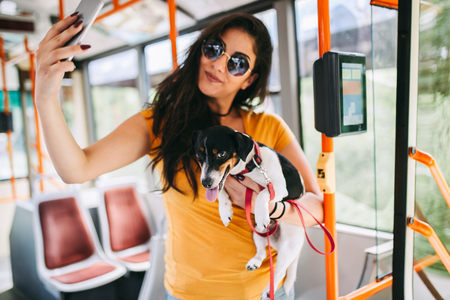 Beautiful young woman standing in city bus with her jack russell terrier and taking selfie photo.