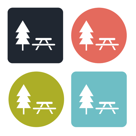 seated: Picnic table icon Illustration