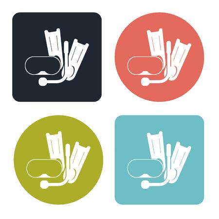 flippers: Aletas y m�scara de icono de buceo