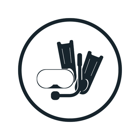 flippers: Flippers and mask for diving icon Illustration