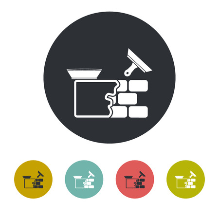 plasterer: Stucco wall icon Illustration