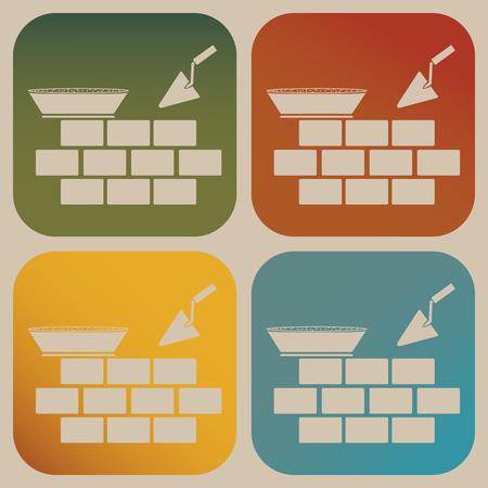 paredes de ladrillos: Icono de Albañilería Vectores