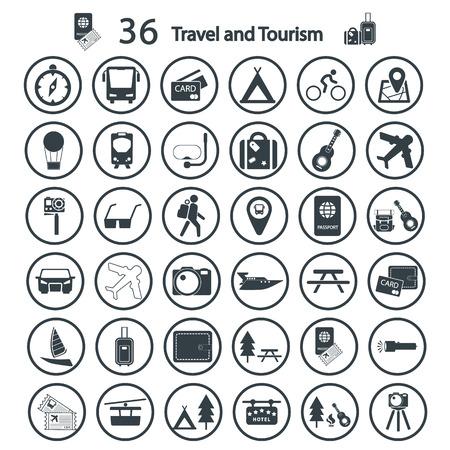 conjunto de icono de viajes y Turismo