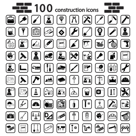 construction equipment: construction set icon Illustration