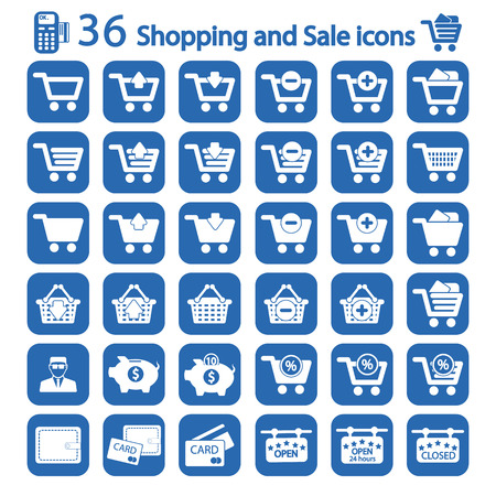 sales manager: Shopping and sale icon set
